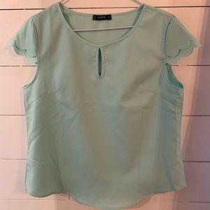 Light blue double cap sleeve short sleeve blouse